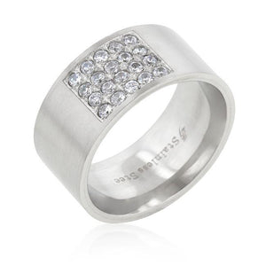 Stainless Steel Pave Cubic Zirconia Mens Ring