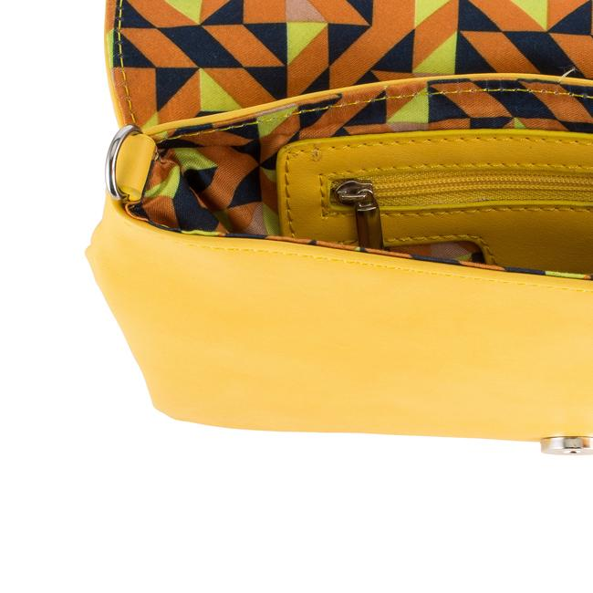 Martha Yellow Leather Purse Clutch With Silver Hardware