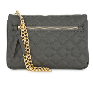 Alexis Grey Quilted Faux Leather Clutch With Gold Chain Wristlet