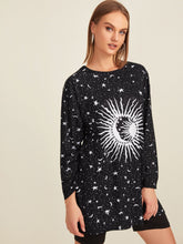 Load image into Gallery viewer, Galaxy Print Longline Tee Without Belted