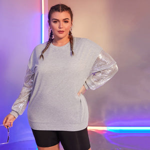 Plus Drop Shoulder Contrast Sequin Sleeve Sweatshirt