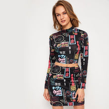 Load image into Gallery viewer, Mock Neck Graphic Print Tee & Bodycon Skirt
