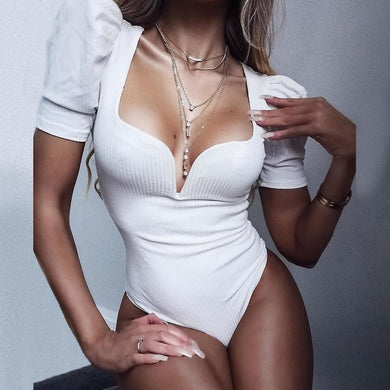 Vintage sexy solid white black bodysuits