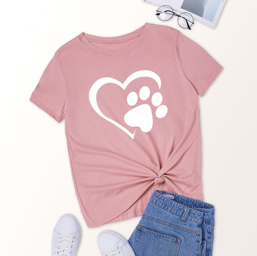 Footprint And Heart Print Tee
