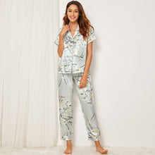 Load image into Gallery viewer, Floral & Leaf Print Satin Pajama Set