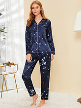 Load image into Gallery viewer, Dandelion Print Satin Pajama Set