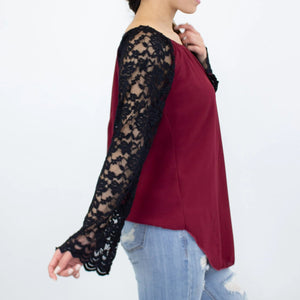 Lace Sleeve Backless Top - Burgundy