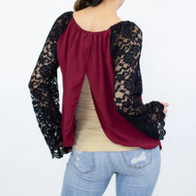 Load image into Gallery viewer, Lace Sleeve Backless Top - Burgundy