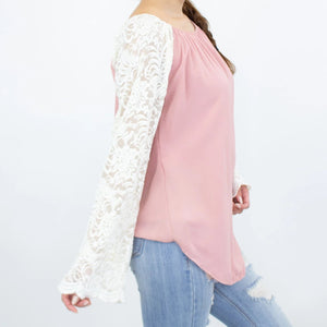 Lace Sleeve Backless Top - Rose