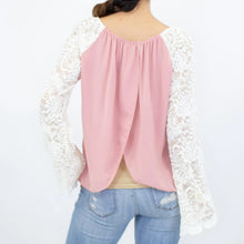 Load image into Gallery viewer, Lace Sleeve Backless Top - Rose