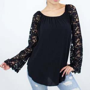 Lace Sleeve Backless Top - Black