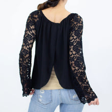 Load image into Gallery viewer, Lace Sleeve Backless Top - Black