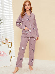 Floral Print Button-up Pajama Set