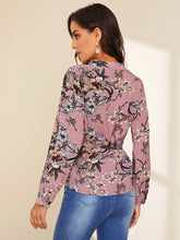Load image into Gallery viewer, Notch Neck Floral Print Belted Blouse