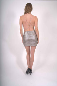 Gloaming Shiny Silver Mini Dress