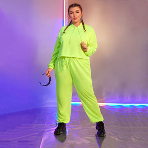 Plus Neon Green Drawstring Hoodie & Pants Set