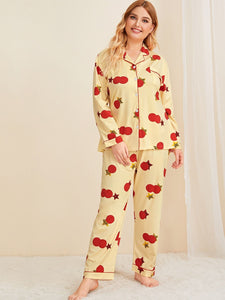 Plus Cartoon Print Button Front Pajama Set