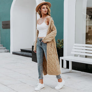 Winter mohair long cardigan knitted sweater