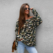 Load image into Gallery viewer, Camo Print Asymmetrical Neck Tee