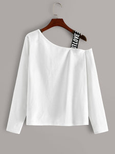 Figure Print Asymmetrical Neck Tee