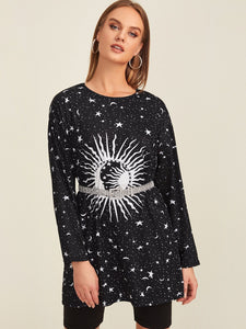 Galaxy Print Longline Tee Without Belted