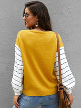 Load image into Gallery viewer, V Neck Striped Panel Sleeve Sweater