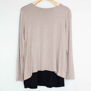 Button Detail Layered Top Mocha