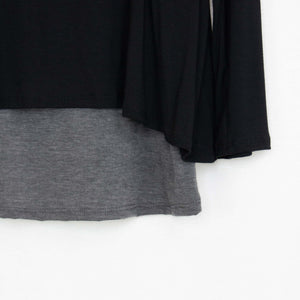 Button Detail Layered Top Black