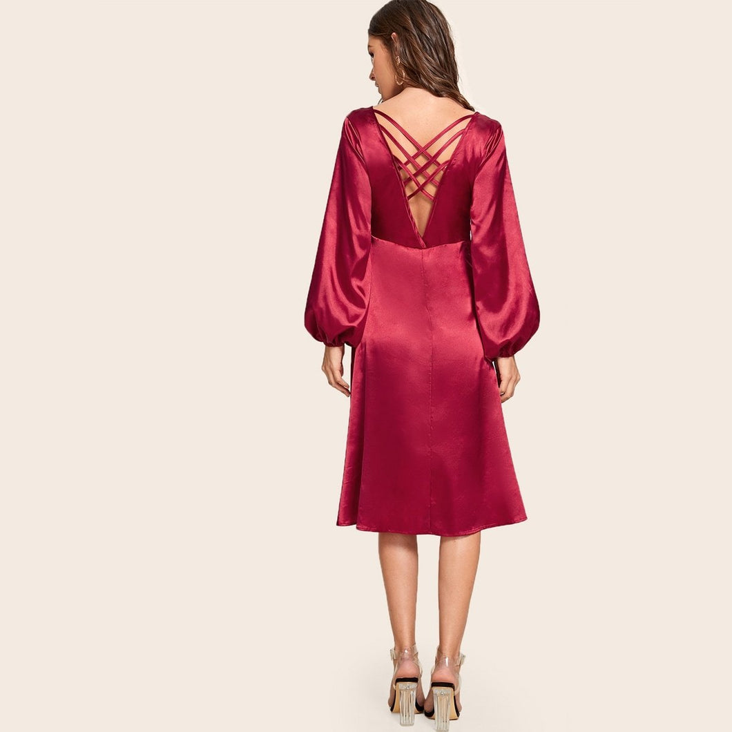 V Neck Crisscross Back Bishop Sleeve Stain Dress