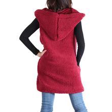 Load image into Gallery viewer, Burgundy Sherpa Open Front Hooded Sleeveless Jacket