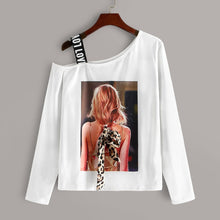 Load image into Gallery viewer, Figure Print Asymmetrical Neck Tee
