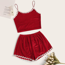 Load image into Gallery viewer, Crochet Trim Velvet Cali Pajama Set