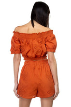 Load image into Gallery viewer, Smocked Off Shoulder Top & High Waist Eyelet Shorts Set