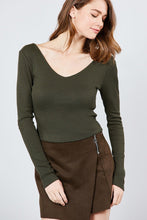 Load image into Gallery viewer, Long Sleeve Double V-neck Rib Knit Top