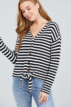 Load image into Gallery viewer, Long Sleeve V-neck W/buttoned Down Front Tie Stripe Cardigan