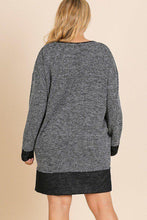 Load image into Gallery viewer, Heathered Knit Long Sleeve Round Neck Dress