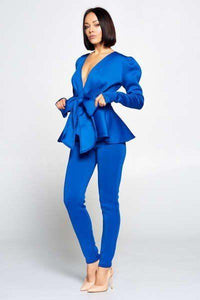 Long Sleeve Deep V Neckline Top With Waist Tie To Make A Bow Detail Paired With Elastic Waist Pants