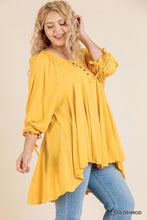 Load image into Gallery viewer, Ruffle Tie Sleeve Button Round Neck Tunic With High Low Hem