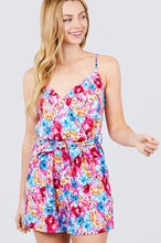 Load image into Gallery viewer, V-neck W/wrap Adjustable Spaghetti Straps Waist Belt Printed Knit Romper