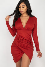 Load image into Gallery viewer, Ruched Wrap Bodycon Dress