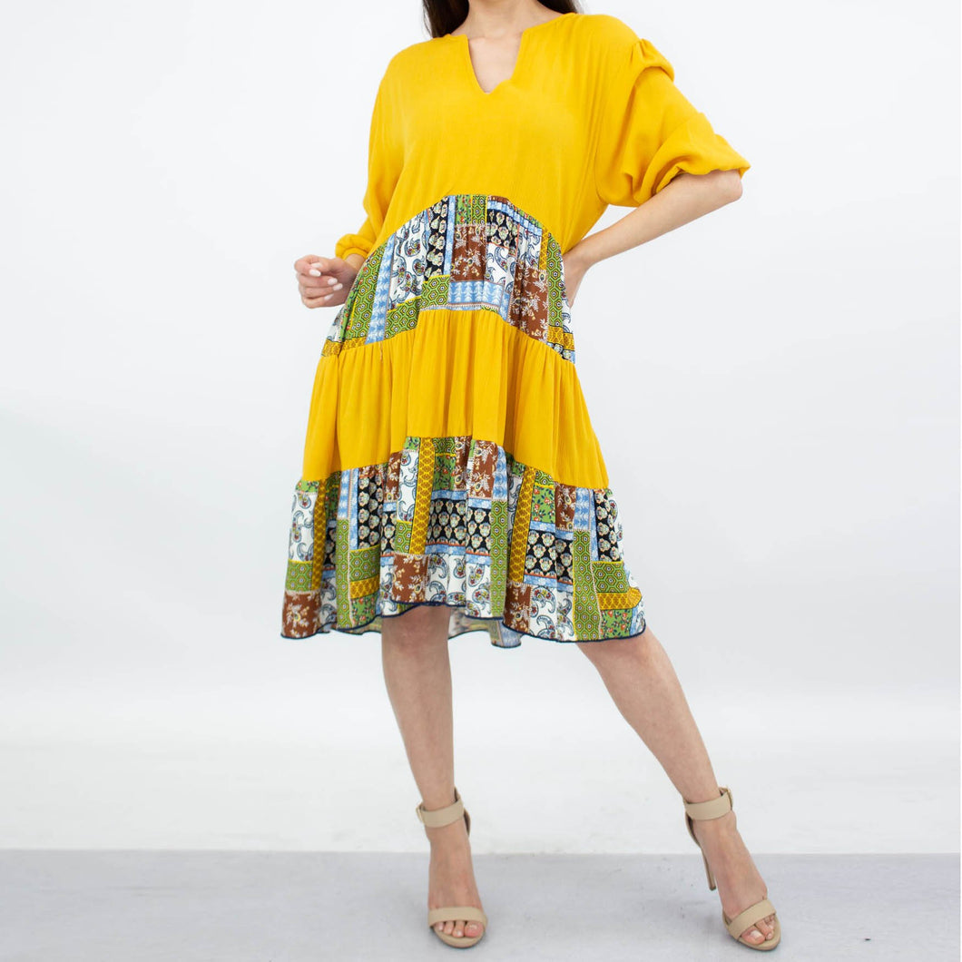 Three Tiered Color Block Dress - Yellow
