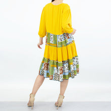 Load image into Gallery viewer, Three Tiered Color Block Dress - Yellow