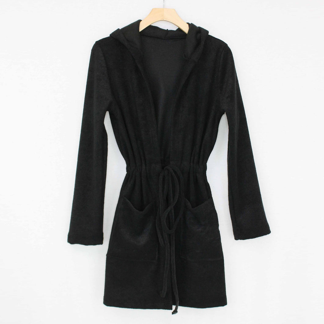 Hooded Waist Tie Cardigan