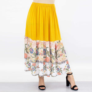 Floral Color Block Skirt - Yellow