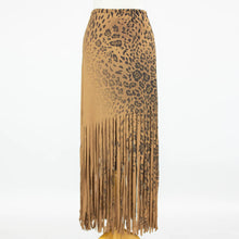 Load image into Gallery viewer, Wild Animal Print Skirt with Fringe