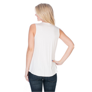 Sleeveless Loose Top -Ivory
