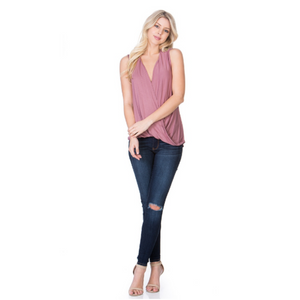 Sleeveless Loose Top -Rose