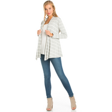 Load image into Gallery viewer, Stripe Cardigan -Grey