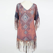 Load image into Gallery viewer, Tribal Print Fringe Finish Top - Burgundy