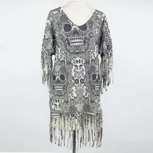Skull Print Fringe Finish Top